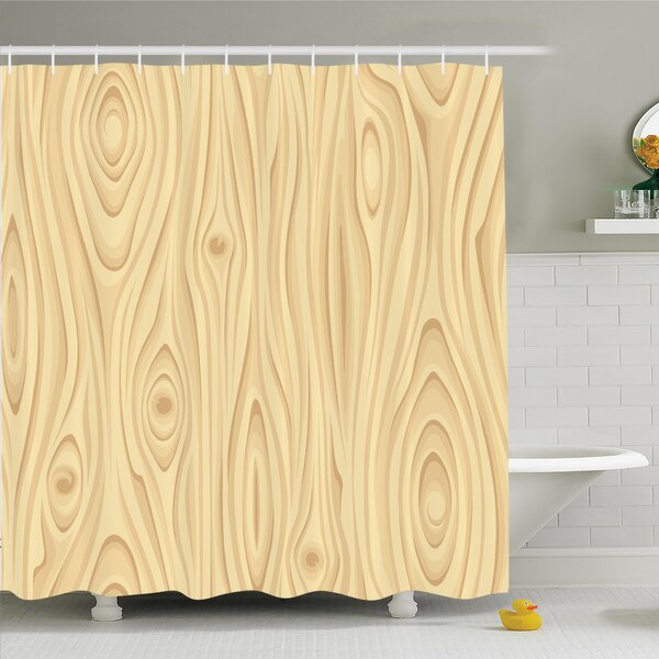 Wooden Texture Shower Curtain Set by Ambesonne