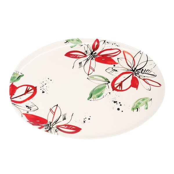 Poinsettia Real Gold Accents Serving Platter by Floor 9