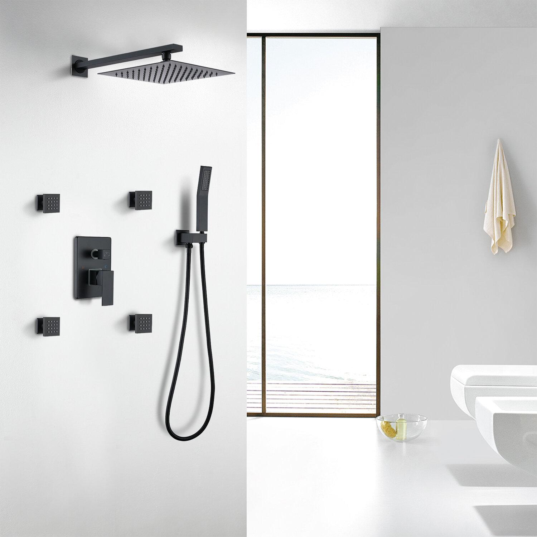 Watqen Pressure Balanced Complete Shower System With Rough In Valve Reviews Wayfair
