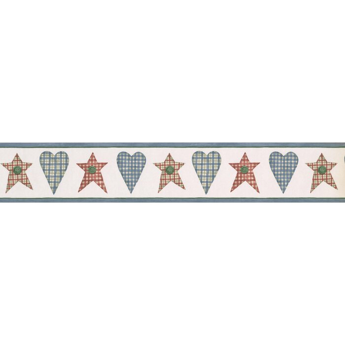 Nowrang Striped Checkered Hearts Stars 15 L X 4 25 W Abstract Wallpaper Border