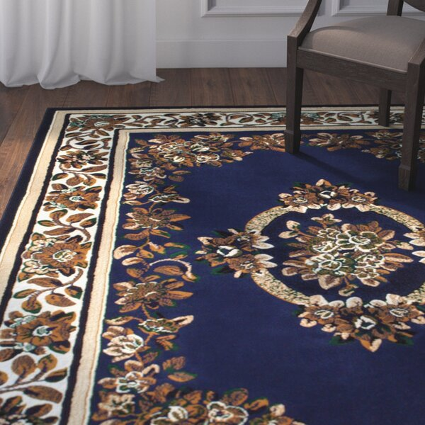 Arkin High-Quality Woven Floral Printed Stitch Carving Navy Area Rug by Astoria Grand