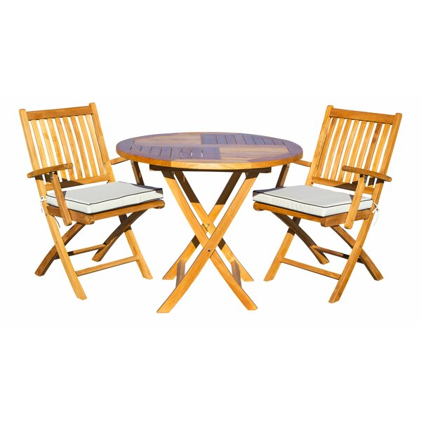 Everleigh 3 Piece Teak Sunbrella Bistro Set with Cushions by Bay Isle Home
