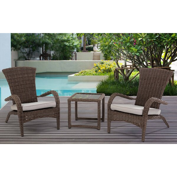 Craner Wicker 3 Piece Bistro Set with Cushions by Rosecliff Heights Rosecliff Heights