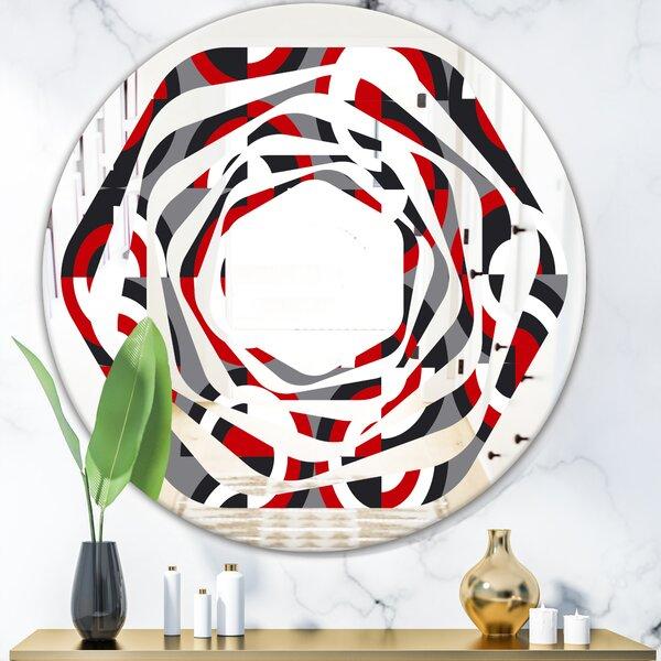 Whirl Circular Pattern Geometrical Modern & Contemporary Frameless Wall Mirror