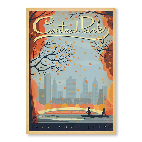 New York City Central Park Autumn Vintage Advertisement by East Urban Home