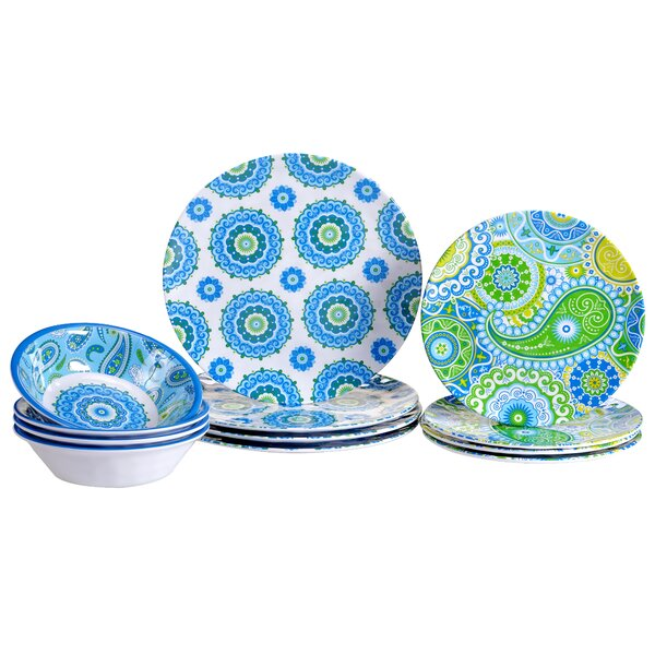 Boho Heavy Weight Melamine 12 Piece Dinnerware Set, Service for 4 by Certified International