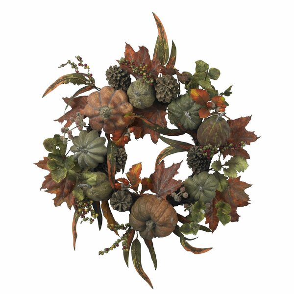 Pumpkin & Gourd Wreath by Nearly Natural