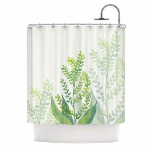 Inexpensive 'Botanical Vibes 06' Digital Shower Curtain ByEast Urban Home