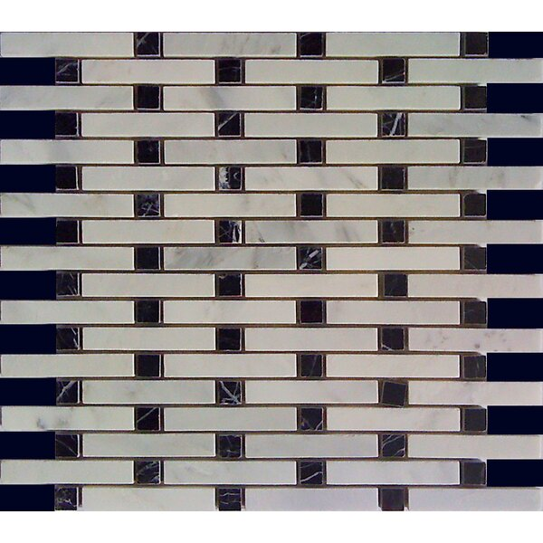 0.6 x 4 Marble Mosaic Tile in Black/White Statuary by Luxsurface