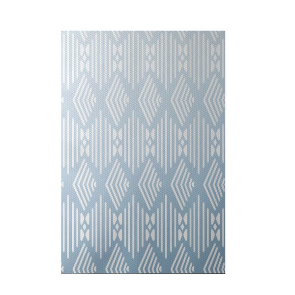Fishbones Geometric Print Washed Out Indoor/Outdoor Area Rug by e by design