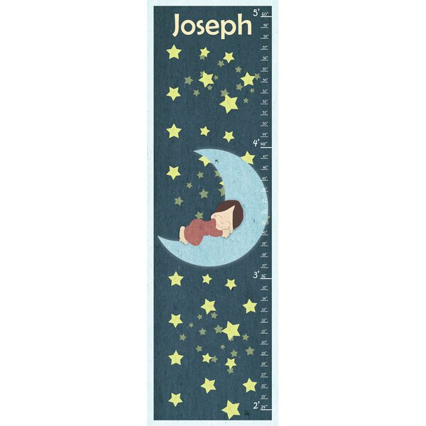 Sleeping on the Moon Personalized Growth Chart by Green Leaf Art