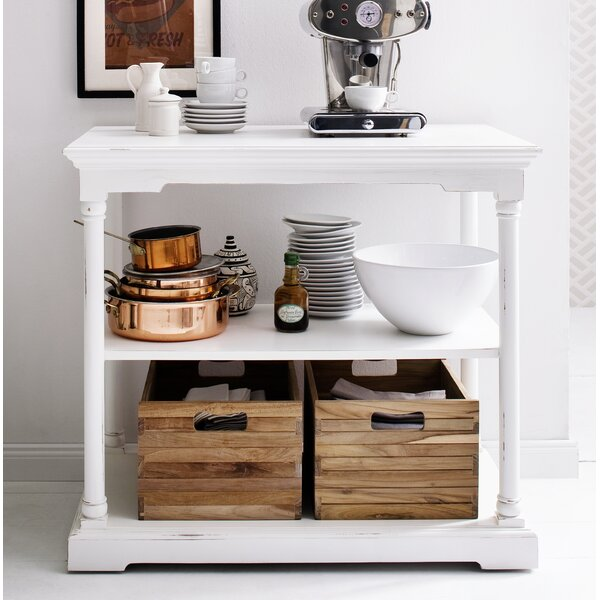 Ownby Kitchen Island with 2 Wood Crates by Gracie Oaks