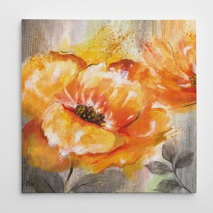 'Orange Crush I' Oil Painting Print on Wrapped Canvas by Three Posts