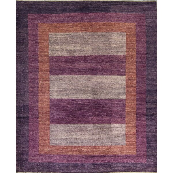Gabbeh One-of-a-Kind Hand-Knotted Wool Purple Area Rug by Bokara Rug Co., Inc.