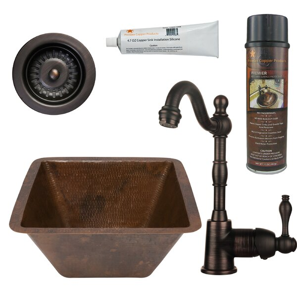 15 L x 15 W Square Hammered Copper Bar Sink with Faucet by Premier Copper Products