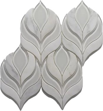 Botanica Arabescato P. Wall 10.25 x 9.75 Glass Mosaic Tile in White Clear by Seven Seas