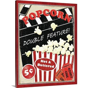 'At the Movies I' by Veronique Charron Vintage Advertisement on Wrap Canvas by Great Big Canvas