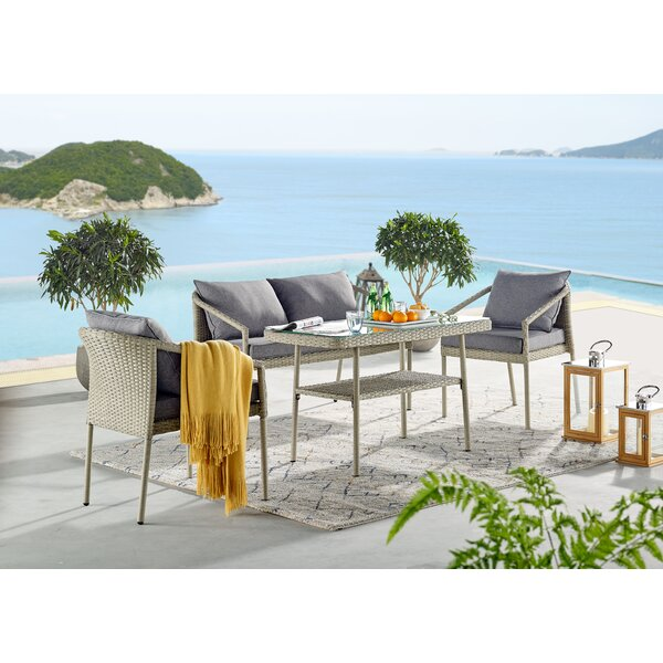 Pancoast 4 Piece Complete Patio Set with Cushions by Highland Dunes