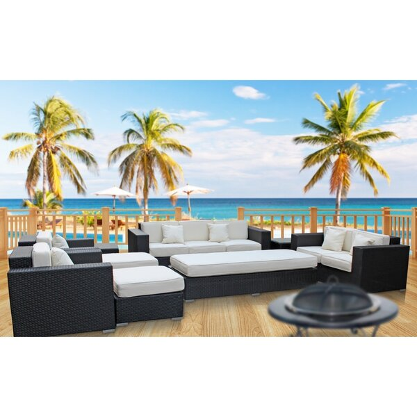 Eclipse 9 Piece Rattan Sofa Set With Cushions By Modway