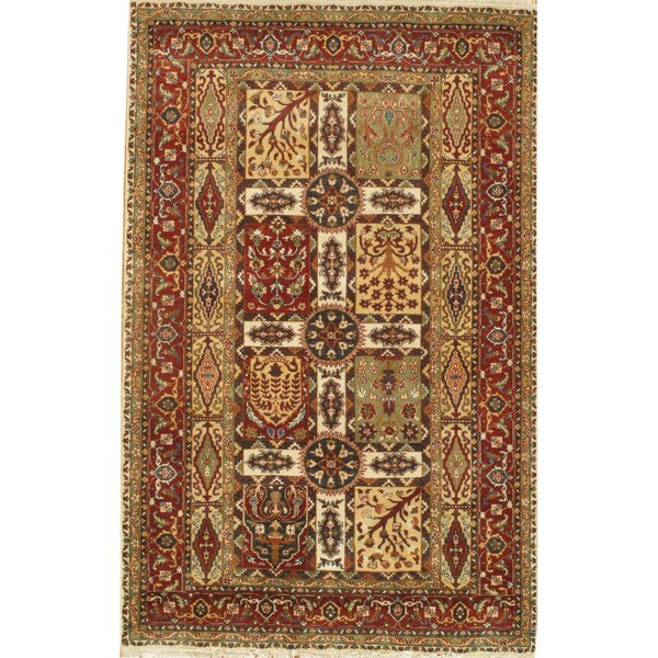 Tabriz Genuine Fine Design Hand Knotted Wool Rust Area Rug by Pasargad NY
