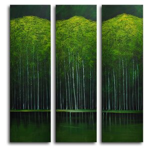Aspens on Evening Lake 3 Piece Painting Wrapped Canvas Art Set by My Art Outlet