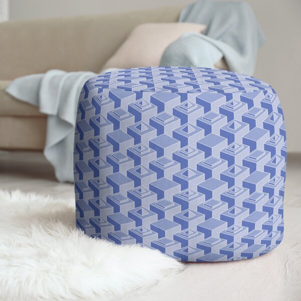 Two Color Skyscrapers Pattern Pouf by East Urban Home