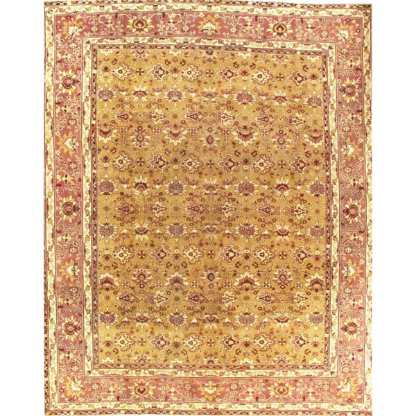 Agra Antique Fine Hand-Knotted Wool Gold Area Rug by Pasargad NY