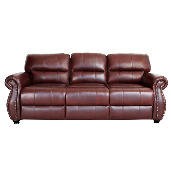 Hamar Leather 88 Inches Rolled Arms Sofa By Charlton Home