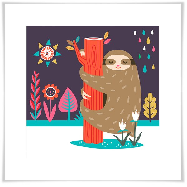 Colin Sleepy Sloth 3 Paper Print by Zoomie Kids