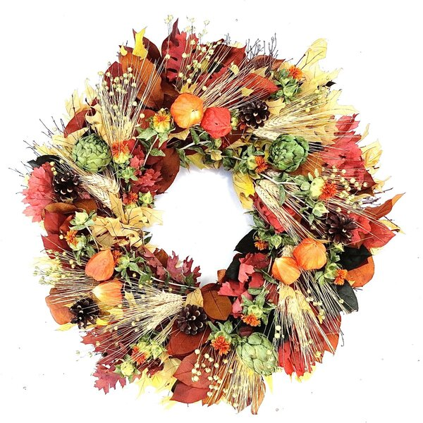 Chinese Lantern and Artichoke Wreath by Dried Flowers and Wreaths LLC