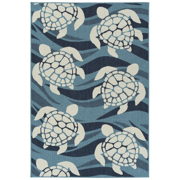 Augu Blue Indoor/Outdoor Area Rug by Rosecliff Heights