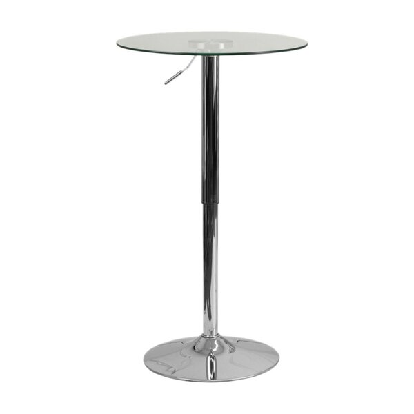 Coolidge Round Adjustable 33.5'' Height Glass Dining Table by Orren Ellis