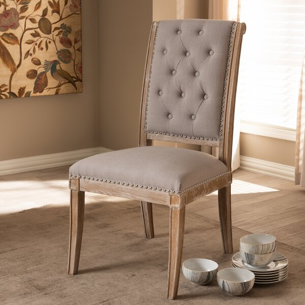 Mcghee Linen Upholstered Side Chair In Beige By One Allium Way