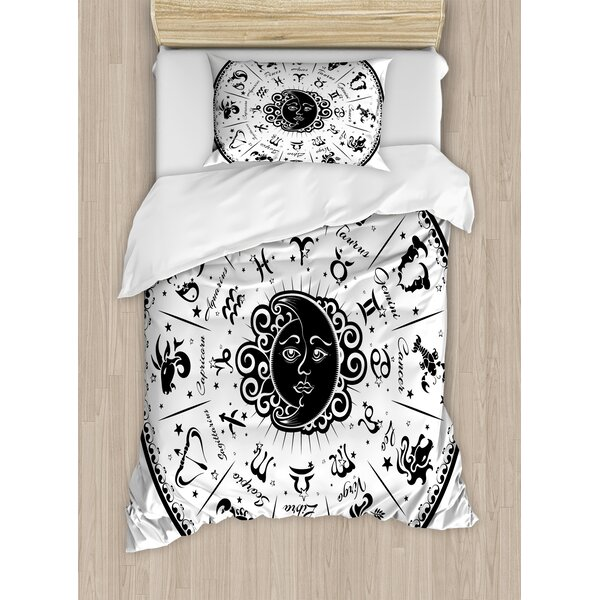 Zodiac Minimalist Rounded Symbols Mystical Outer Space Effects on Character Image Duvet Set by Ambesonne