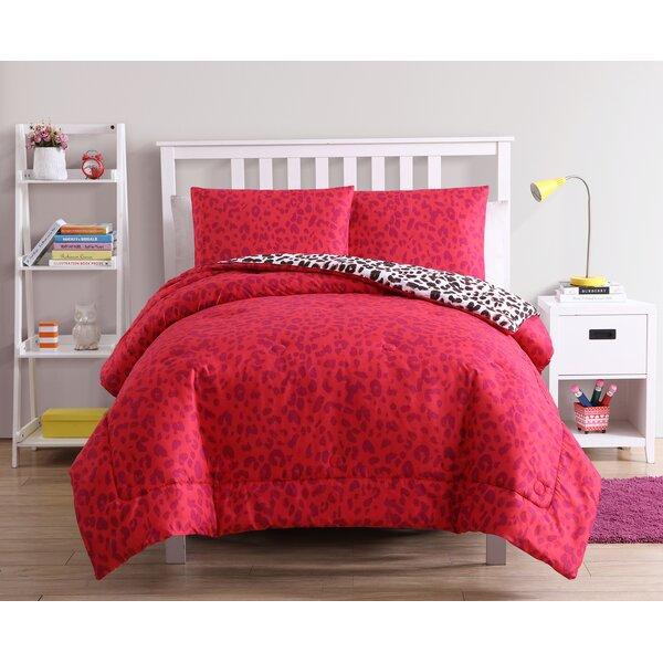 Allender Floral Leopard Reversible Comforter Set by Ebern Designs