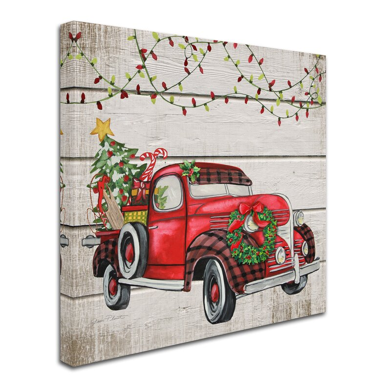 Vintage Christmas Truck 1 Graphic Art Print On Wrapped Canvas