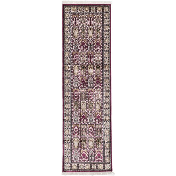 One-of-a-Kind Kashmir Kerman Hand-Knotted Burgundy Area Rug by ECARPETGALLERY