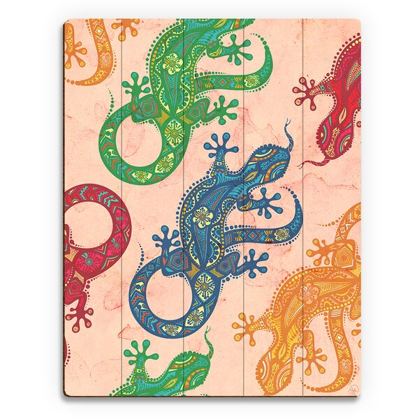 Geckos Graphic Art on Plaque by Click Wall Art