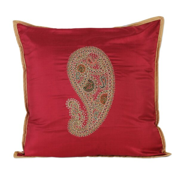 Hand-Embroidered Paisley Silk Pillow Cover by Novica