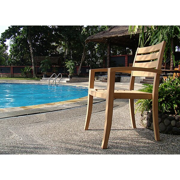 Dossett Stacking Teak Patio Dining Chair by Rosecliff Heights