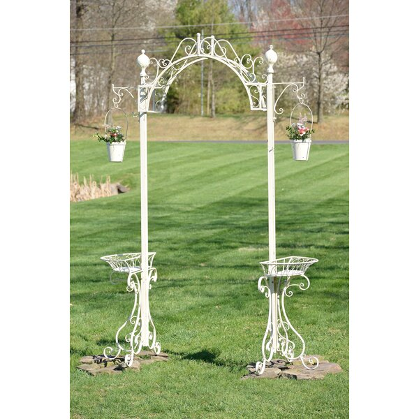 Garden Archway Iron Arbor with Planters by Zaer Ltd International