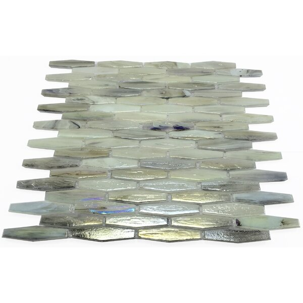 Esogano 11.18 x 12.4 Glass Mosaic Tile in Gray/Beige by Byzantin Mosaic
