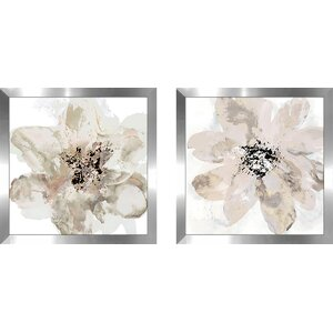 'Corolla III - Neutral' 2 Piece Framed Print Set on Glass by Red Barrel Studio