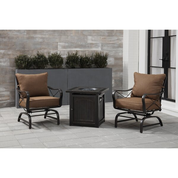 Rhonda 3-Piece Fire Pit Chat Set in Desert Sunset with 2 Cross-Back Rockers and a 26-In. Square Fire Pit Side Table by Fleur De Lis Living