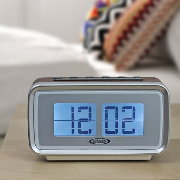AM/FM Dual Alarm Clock with Digital Retro Flip Display by Jensen
