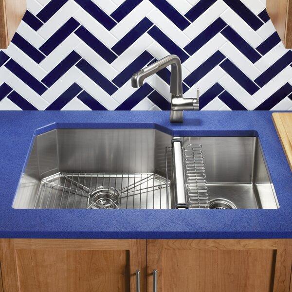 Strive 35-1/2 L x 20-1/4 W x 9-5/16 Under-Mount Extra-Large/Medium Double-Bowl Kitchen Sink with Basin Rack by Kohler