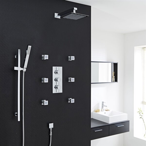 Edinburgh Wall Mount Rainfall Thermostatic Complete Shower System With Rough-in Valve By FontanaShowers