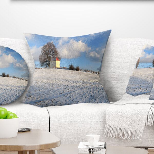 Landscape Winter with Chapel Pillow by East Urban Home
