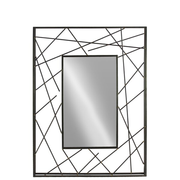 Hopson Abstract Lines Frame and Beveled Edge Rectangle Accent Mirror by Orren Ellis