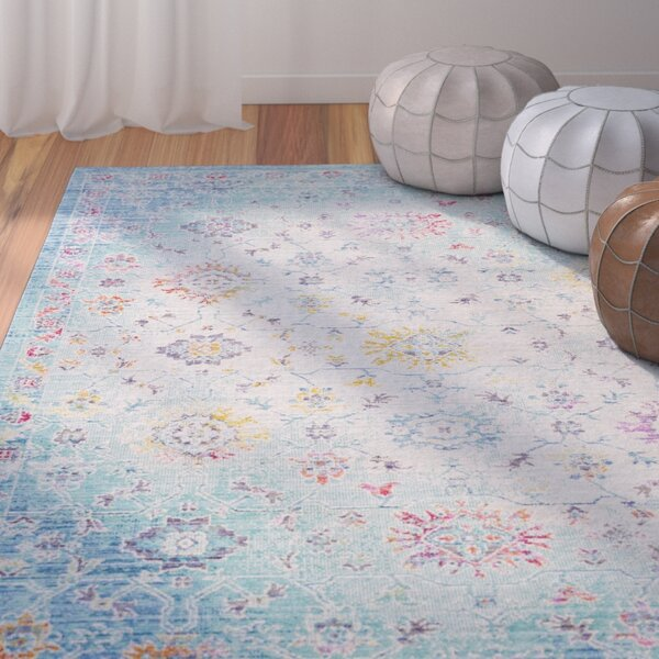 Lyngby-Taarbæk Classic Floral and Plants Aqua Area Rug by Bungalow Rose